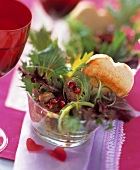 Pomegranate and Mixed Greens with Duck Liver