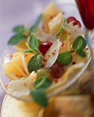 Melon Carpaccio with Shaved Pecorino, Red Grapes and Mint