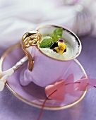 Frothy Basil Soup in Elegant Soup Mug