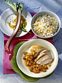 Chicken breast with rhubarb chutney and rice