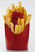 Chips with ketchup in red paper bag