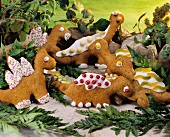 Dino biscuits made from honey pastry