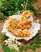 Acacia blossom in batter