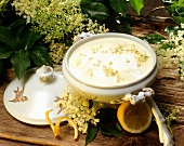 Milk soup with elderflowers