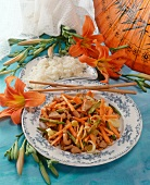 Chicken breast with vegetable strips and day lilies