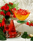Rose liqueur and rose punch