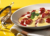Strawberry brulee with champagne sabayon