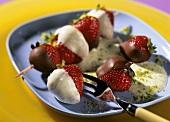 Strawberry kebabs with pistachio cream