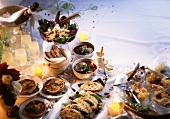 New Year's Eve buffet with appetisers and desserts