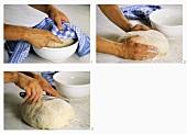 Aufgegangenen Brotteig einschneiden