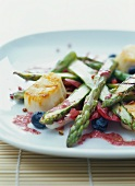 Green asparagus with sea devil medallions and vinaigrette