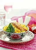 Saffron Rice with Gingered Salmon (Asian Style)