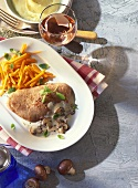 Turkey steak with creamed mushrooms and carrots