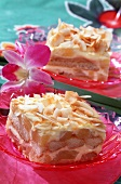 Pina colada sponge with coconut chips