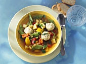 Colourful vegetable stew with herb dumplings