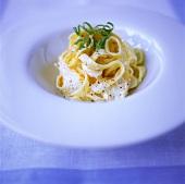 Ribbon noodles with ricotta mousse