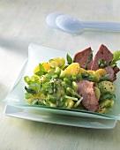 Kartoffelsalat mit Staudensellerie und Leberkäse