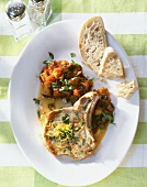 Thyme cutlet with aubergines and tomatoes