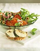 Tomato and rocket salad, with mozzarella bruschetta