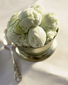 Cucumber ice cream in a sundae glass