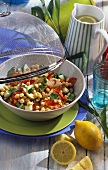 Chick-pea salad with peppers, apple and cucumber