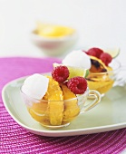 Lime ice cream with fruit