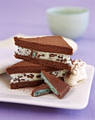 Chocolate triangles with mint & cream filling, mint chocolate