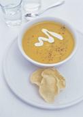Mustard cream soup with crème fraiche