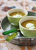 Cream of pumpkin soup with crème fraiche