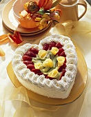 Heart-shaped rhubarb cream gateau