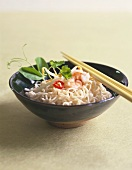 Noodle soup with shrimps and sprouts