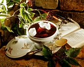 Saxon elderberry soup with pear and egg white dumplings