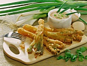 Breaded spring onions with mayo ketchup