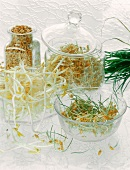 Sprouts and seeds in glass containers