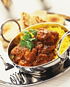 Spicy lamb with curried rice