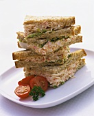 Sandwich tower with radish and cheese filling