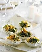 Vegetable tartlets in paper cases