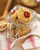 Almond and cherry biscuits in jar