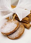 Cinnamon biscuits with cinnamon sticks