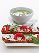 Cold pea soup with radish sandwich
