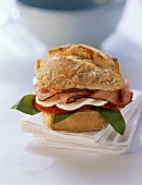 Ham and mozzarella sandwich on paper napkins