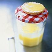 Lemon tartlet on a preserving jar