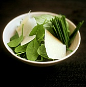 Spinach with Parmesan shavings and chives