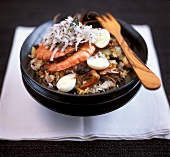 Fried rice with seafood, eggs and grated coconut