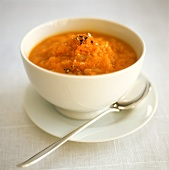 Carrot soup in soup bowl