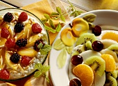 Cream cheese with fruit and fruit salad with cashew mousse