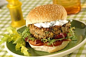 Vegetarian burger with herb quark