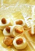 White chocolates with honey-roasted macadamia nuts