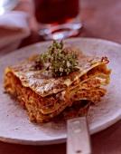 Lasagna with gorgonzola sauce