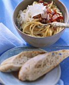 Spaghetti carbonara with parmesan